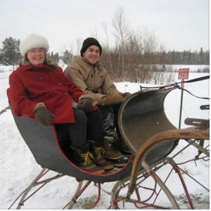 Marilyn & Zeb enjoying a home sleigh ride